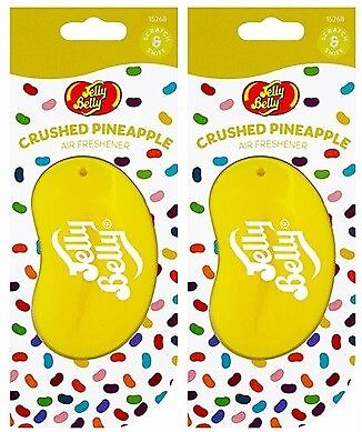 2 x JELLY BELLY 3D BEAN SWEETS SCENT CAR AIR FRESHENER - CRUSHED PINEAPPLE