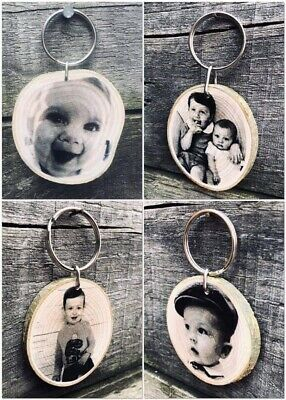 Personalised Engraved Photo Wooden Keyring Keychain Christmas Gift Any Occasion