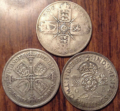 Lot Of 3 Uk Gb Great Britain Florin .500 Silver Lot Of 3 Coins