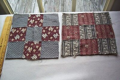 Two Vintage  Antique 1800's 19th Century   Cotton Fabric Blocks Quilts/Crafts