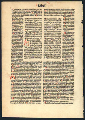 1493 Incunable Bible Leaf  Book of Ecclesiasticus 42 Hand-Colored Letters