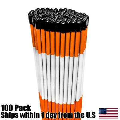 1//4 inch Pack of 10 Driveway Markers 48 inches Orange with Cap /& Tapered End