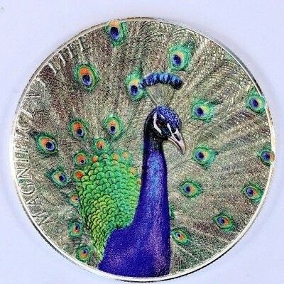 Cook Islands 5 Dollar Silver Proof 3D Coin, 2015 Magnificent life Peacock 1 oz