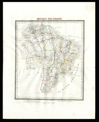 1835 Map of Brazil, Hand-Colored Steel Plate Engraving Atlantic Ocean Geography