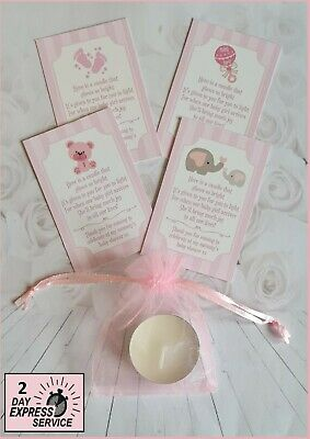 Baby shower tealight SCENTED candle favours PINK THEME