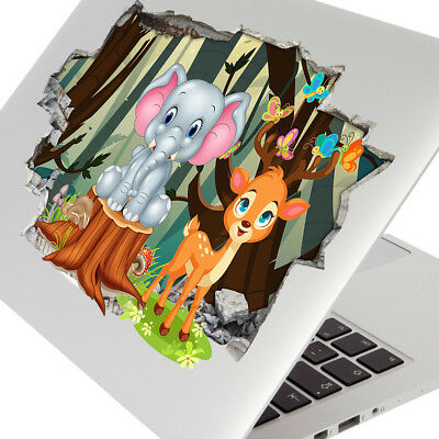 Wall Stickers Elephant Deer Trees Kids Cute Laptop Girls Boys Living Door G767