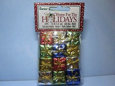 Dollhouse Miniature Foil Wrapped Christmas Presents Gifts package of 12-3/4""