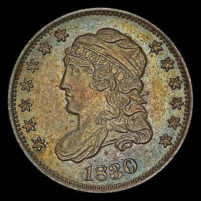 1830 Half Dime, PCGS AU58 Gold Shield, Rainbow Toned, Undergraded??