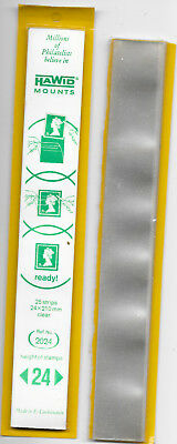 HAWID CLEAR STRIPS 24mm COMPLETE PACK OF 25 + OPENED PACK OF 20.