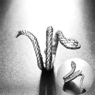 Vintage Antique Silver Plated Ring Women Jewelry Men Retro Alloy Snake Open Eb