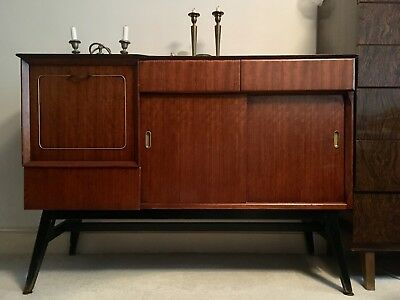 Dark red wood mid century vintage sideboard with brass inlay