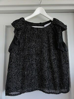 fbe748f2848c9 NICOLE FARHI Womens Top 100% Silk Lining with Black with White Dots Size UK  14