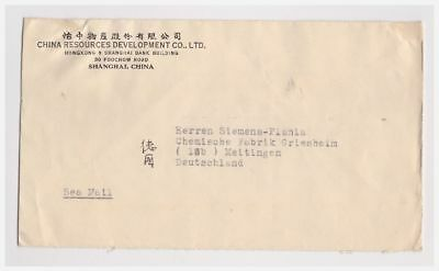 China letter from Shangai to Meitingen in Germany 1949