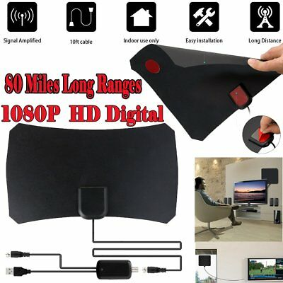 Indoor HD Digital TV Antenna 80 Miles Long Range Amplified HDTV Signal Booster