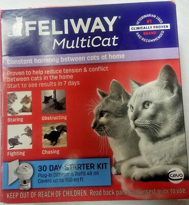 Feliway Multicat 30 Day Starter Kit Plug In Diffuser & Refill 48 ml