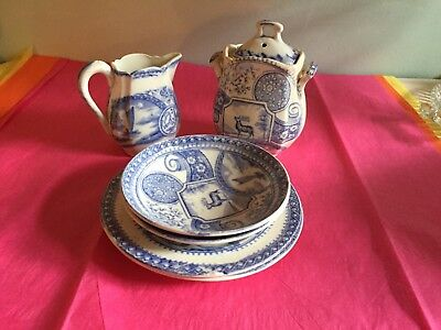 Antique Blue Transfer Ware  Childs Set Pieces- Deer -aesthetic