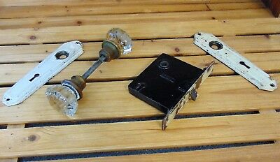 Vintage Antique Glass 12 Point Door Knobs and Hardware 2 Plates No Chips Nicks