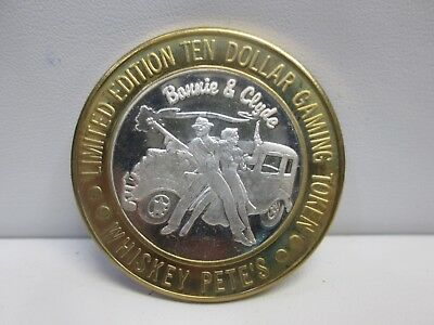 Whiskey Pete's Bonnie & Clyde .999 Fine Silver $10 Gaming Token In Capsule