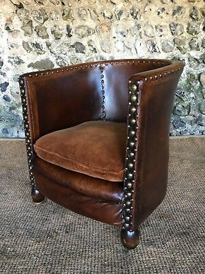 ANTIQUE C1920s LEATHER STUDDED CLUB TUB ARM CHAIR COMPACT SIZE
