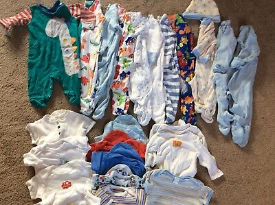 Baby Boys Sleepsuits And Vests Bundle Size 3-6 Months. Next And TU