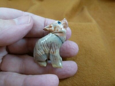 (Y-COY-11) tan red COYOTE wolf wild dog carving SOAPSTONE stone PERU FIGURINE