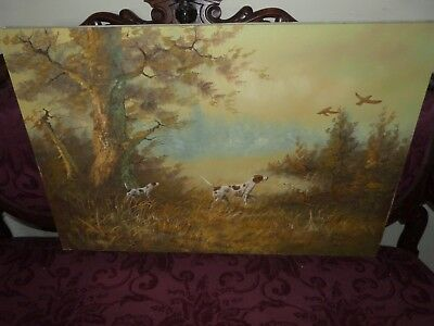 Original Large Signed Oil On Canvas Painting Hunting Dogs Chasing Birds Forest