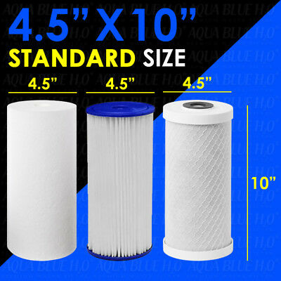"""Replacement Cartridge Pack for 10""""x4.5"""" Triple Big Blue Whole House Water Filter"""