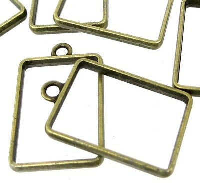 8 Rectangle Frame Pendant Antique Bronze Pewter For DIY Resin Pressed Jewelry