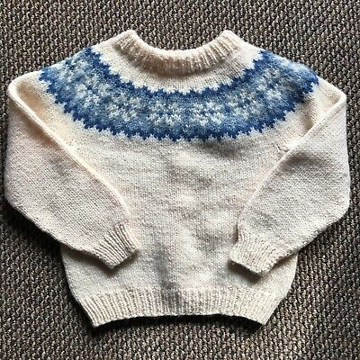 Vintage Childs Nordic Sweater Blue Wool Danish Handknit Large