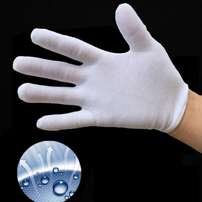 1-10 Pairs White Cotton Gloves Medium Size for Coin Jewelry Silver Inspection US