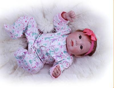 """Girl Toy +Clothes 20"""" Soft Real Cotton Body Silicone Xmas Gift Reborn Dolls Baby"""