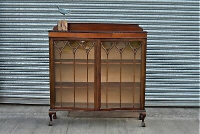 Antique Mahogany Display Cabinet Bookcase with Hand Painted Stain Glass Roses.