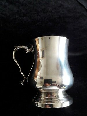 Vintage silver plated 1 pint tankard with ornate handle