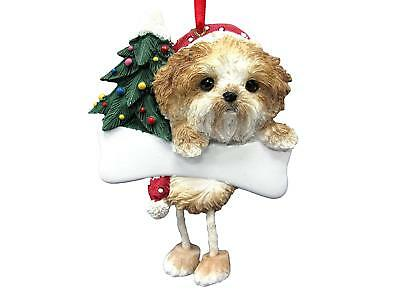 SHIH TZU TAN PUPPY CUT-Dangling Legs Dog Christmas Ornament by E&S Pets