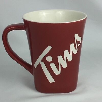 Tim Hortons Red & White Embossed Mug - 2013 Limited Edition Coffee Cup - 013