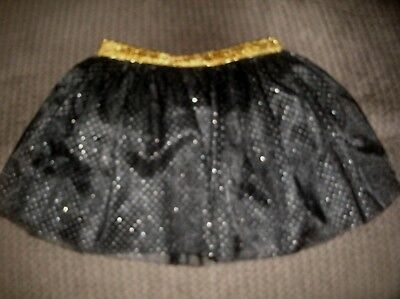 NEW Girl's Black Tulle with Silver Glitter Dots Tutu Skirt Gold Waistband 3T 5T