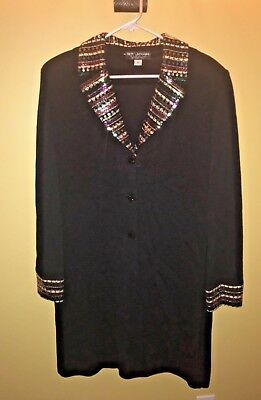 ST JOHN EVENING by Marie Gray Long Black Knit Jacket with Sequin Trim, Sz 12