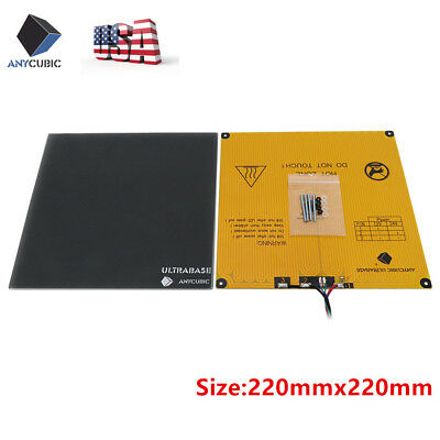 US SHIPS Anycubic MK3 Heated Bed Ultrabase Build Glass Plate Kit For 3D Printer