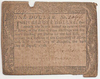Old Us 1776 Maryland One Dollar Colonial Currency  Note