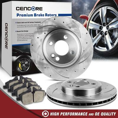 Power Sport Cross Drilled Slotted Brake Rotors and Ceramic Brake Pads Kit 80199 FRONTS