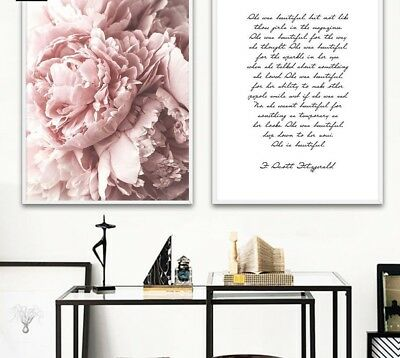 Nordic Wall Painting Print Pink Floral Poster Quote Decoration Modern Home Decor
