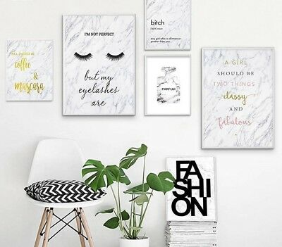 Canvas Art Poster Print Painting Perfume Eyelashes Marble Wall Picture Decor New
