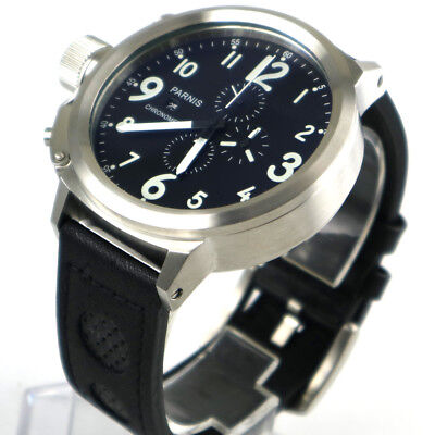 50mm Parnis Big Face black dial day date mens quartz WATCH Full chronograph