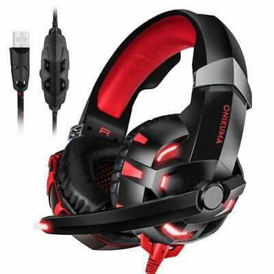 ONIKUMA K2 PC Gaming Headset 7.1 Surround Sound USB Headphone Earphone w Mic Red