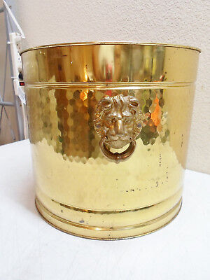 Vintage Hammered Brass Planter With Lion Head Handles