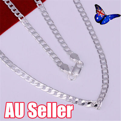 Stunning 925 Sterling Silver Filled 4MM Classic Curb Necklace Chain Wholesale JO