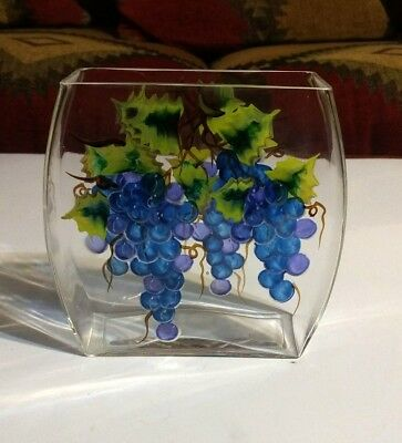"""Clear Glass Pillow Vase Hand Painted Grapes w/Vines 6"""" H x 6"""" W x 2"""" ~ MINT!"""