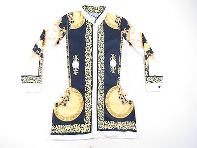 Vintage 80S 90S Womens Baroque Greek All Over Print Button Up Mini Shirt Dress