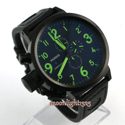 50mm Parnis Full Chronograph Black Dial PVD Big Face Green Quartz Mens WATCH