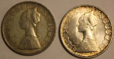 Pair Of 1958 Italy 500 Lire Silver Coins